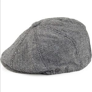 Grey black newspaper boy retro flat top cap men's